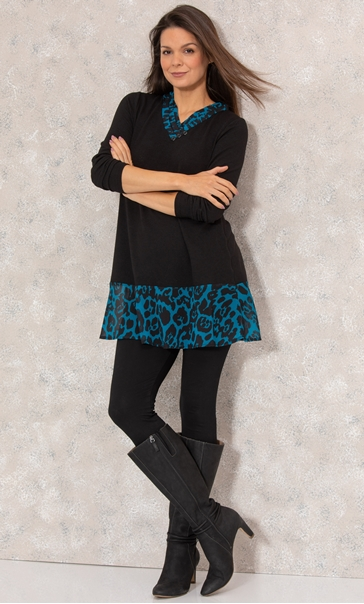 Animal Print Trim Knit Tunic