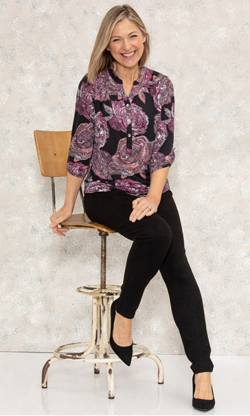 Anna Rose Textured Floral Print Jersey Top