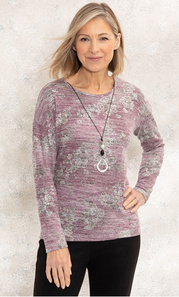 Anna Rose Floral Print Knit Top With Necklace Pink Multi