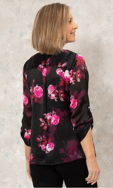Anna Rose Floral Chiffon Blouse With Necklace