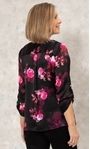Anna Rose Floral Chiffon Blouse With Necklace Black/Pink - Gallery Image 2