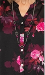 Anna Rose Floral Chiffon Blouse With Necklace Black/Pink - Gallery Image 3