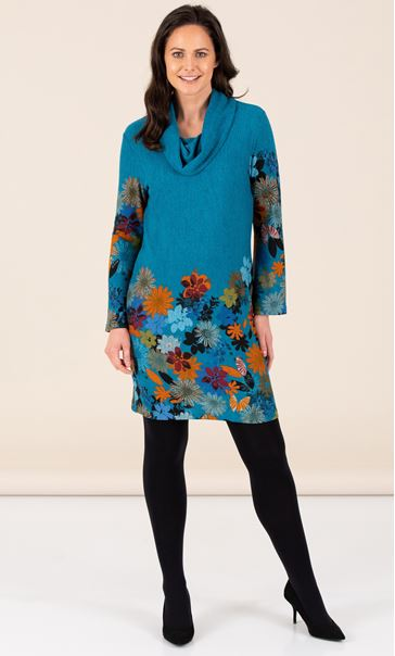 Floral Border Print Knitted  Cowl Neck Midi Dress