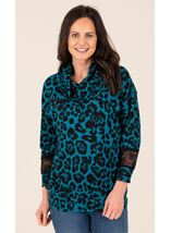 Cowl Neck Animal Print Brushed Knit Top