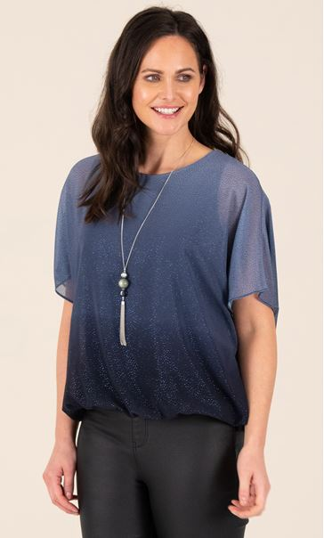 Ombre Glitter Chiffon Top With Necklace Midnight