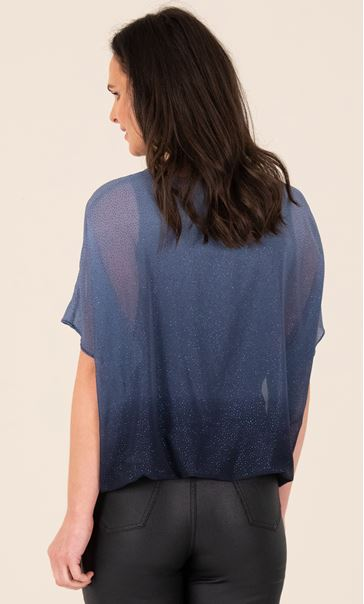 Ombre Glitter Blouse - Midnight