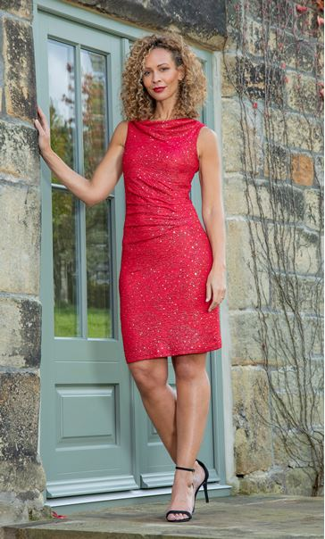 Fitted Cowl Neck Sleeveless Dress