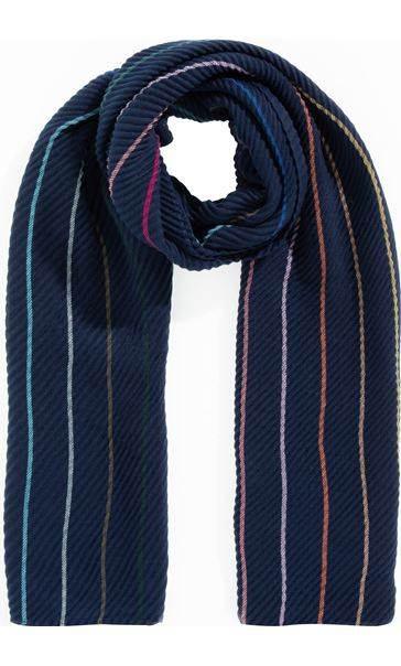 Stripe And Plain Textured Scarf - Blue
