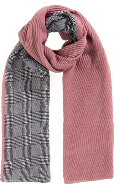 Textured Checked Panel Scarf Pink/Grey