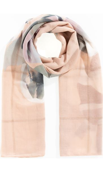 Floral And Shimmer Check Scarf Pink