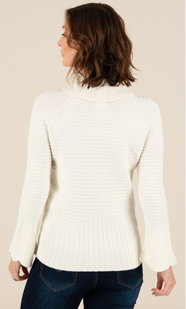 Polar Neck Fitted Knit Top Cream - Gallery Image 3