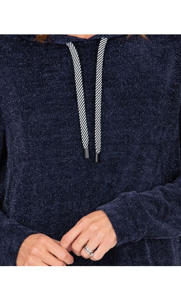 Sparkle Hoodie With Mock Shirt Navy - Gallery Image 3