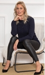 Faux Pearl Embellished Knitted Top Midnight - Gallery Image 1