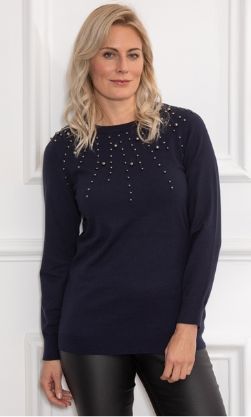 Pearl Embellished Lightweight Top - Midnight