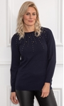Faux Pearl Embellished Knitted Top Midnight - Gallery Image 2