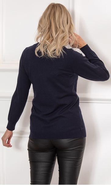 Faux Pearl Embellished Knitted Top Midnight - Gallery Image 3