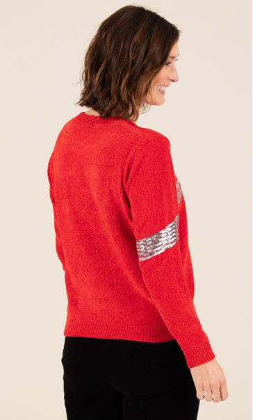 Chenille Bow Print Jumper Red - Gallery Image 3