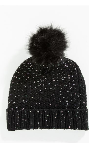Sparkle Chunky Knit Bobble Hat BLACK