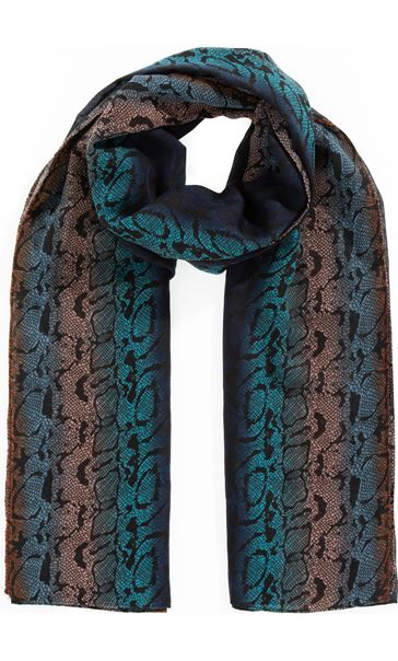 Lightweight Abstract Print Scarf Blue