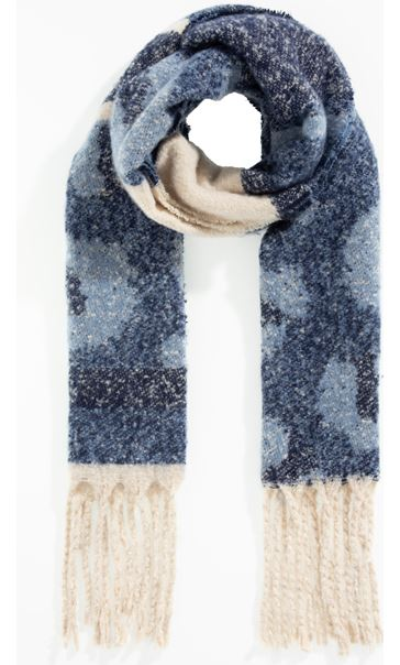 Super Soft Stripe and Animal Print Scarf - Navy