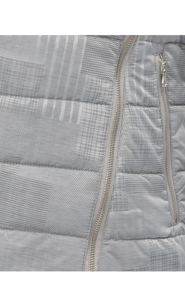 Shimmer Checked Zip Coat Silver Grey - Gallery Image 4