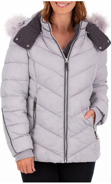 Anna Rose Faux Fur Trimmed Quilted Coat Grey