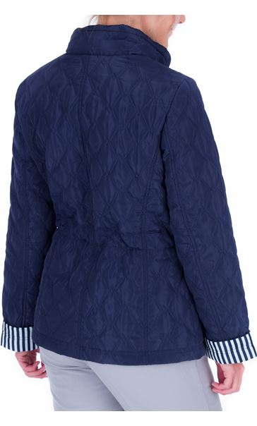 Anna Rose Stripe Cuff Quilted Coat Navy - Gallery Image 2