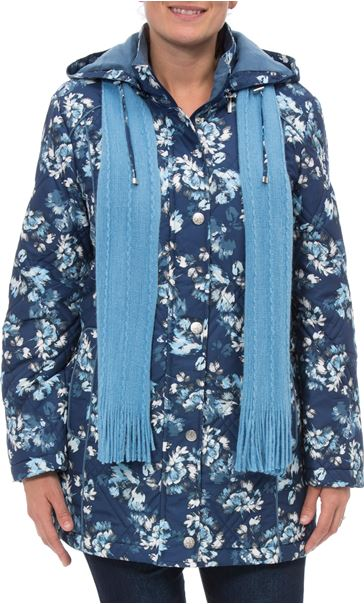 Anna Rose Floral Printed Coat With Scarf BLUE FLORAL
