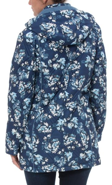 Anna Rose Floral Printed Coat With Scarf BLUE FLORAL - Gallery Image 2