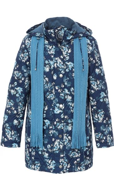 Anna Rose Floral Printed Coat With Scarf BLUE FLORAL - Gallery Image 3