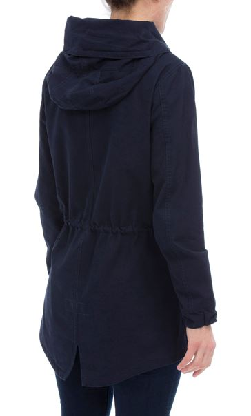 Hooded Cotton Coat Navy - Gallery Image 2