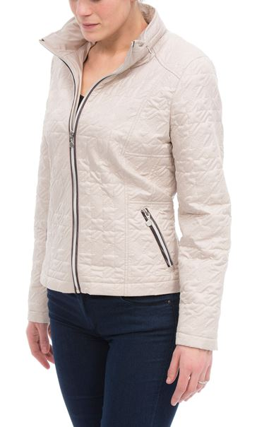 Quilted  Zip Short Coat Ivory