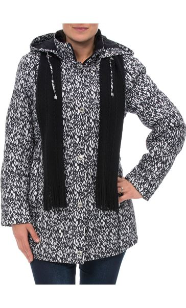 Anna Rose Printed Coat With Scarf Black/White