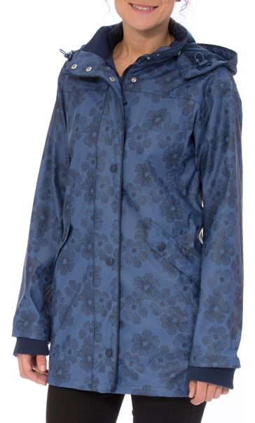 Anna Rose Hooded Floral Raincoat Navy/Mid Blue