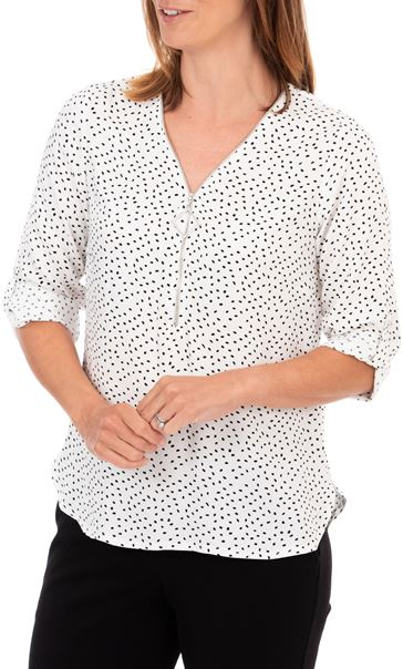 Anna Rose Spotted Lightweight Zip Front Top Ivory/Black
