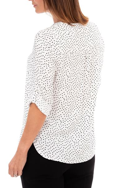 Anna Rose Spotted Lightweight Zip Front Top Ivory/Black - Gallery Image 2