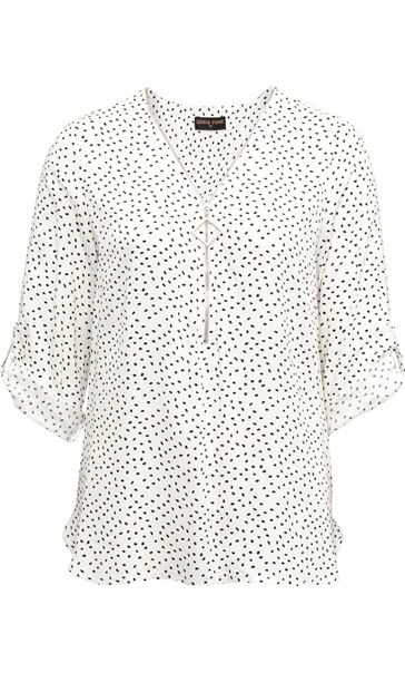 Anna Rose Spotted Lightweight Zip Front Top Ivory/Black - Gallery Image 3