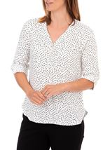 Anna Rose Spotted Lightweight Zip Front Top