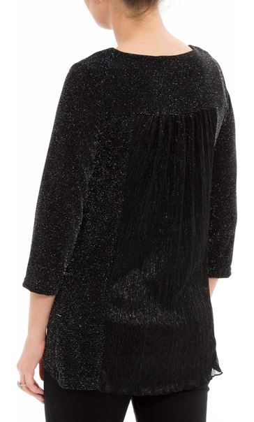 Shimmer Three Quarter Sleeve Top Black/Silver - Gallery Image 2