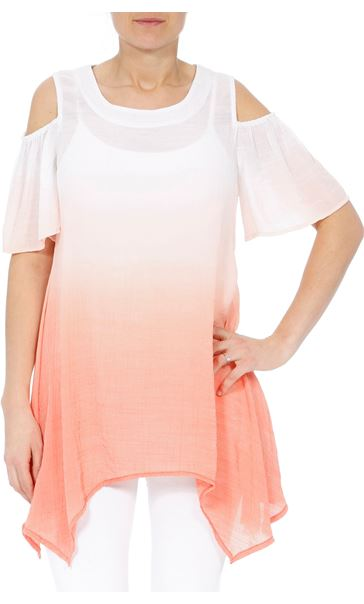 Cold Shoulder Ombre Crinkle Tunic WHITE/PAPAYA