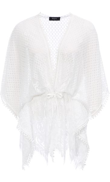 Self Tie Lace Cover Up White - Gallery Image 3