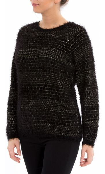 Long Sleeve Feather Knit Top Black/Gold