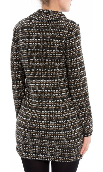 Brushed Knitted Cowl Neck Tunic Black/Ecru - Gallery Image 2