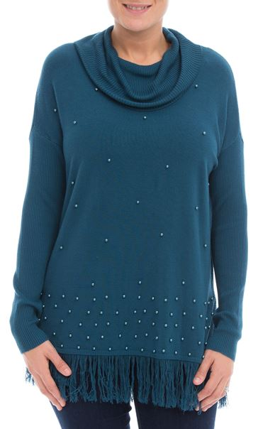 Embellished Cowl Neck Knit Top Peacock