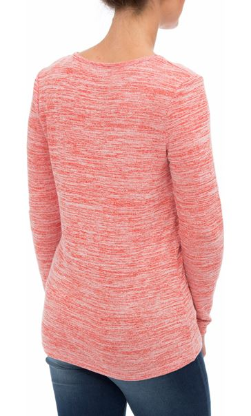 Eyelet Trim Long Sleeve Knit Top Red - Gallery Image 2