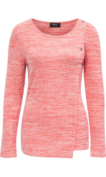 Eyelet Trim Long Sleeve Knit Top Red - Gallery Image 3