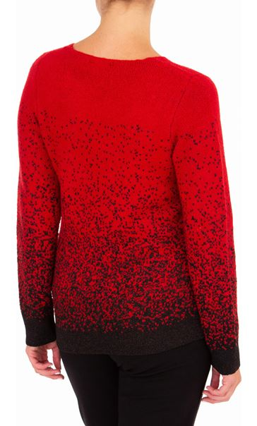 Anna Rose Long Sleeve Sparkle Knit Top Red/Black - Gallery Image 2