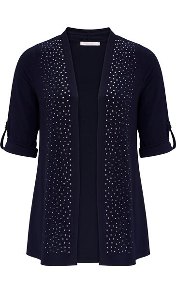 Anna Rose Embellished Open Cover Up Navy - Gallery Image 3