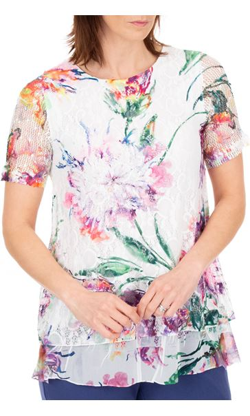 Anna Rose Embellished And Printed Lace Layer Top White/Multi