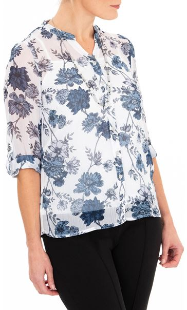 Anna Rose Printed Chiffon Blouse With Necklace White/Multi Blue